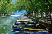 Mixed Medium Prints - Boats On Canal Du Vasse, Annecy, Rhone-alpes, France, Europe Print by John Elk III