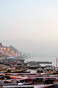 Varanasi Posters - Boats On Ganges River In Morning Poster by Jessica Solomatenko
