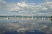 Sailboats In Water Pyrography Posters - boats on Lake Champlain Poster by Margrit Schlatter