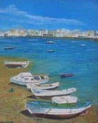Canary Yellow Painting Prints - Boats on Lanzorote Shore Print by Noreen Hegarty