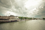 Boats On Seine Print by Oscar Bjarnason