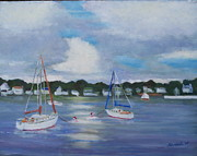 Thunder Paintings - Boats on the Bay by Bob Herbert