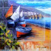 Italian Wine Paintings - Boats on the beach - Amalfi by Luca Guarnotti