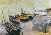 Transportation Paintings - Boats on the Beach by Claude Monet