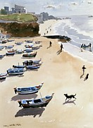 Boats In Water Prints - Boats on the Beach Print by Lucy Willis