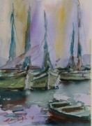 Outlook Paintings - Boats on The Harbour by Ersan TOKOGLU