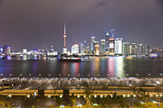 Bund Shanghai Framed Prints - Boats On The Huangpu River And A Bright Skyline Framed Print by Andrew Rowat