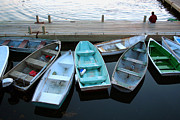 Maine Pyrography - Boats parked at Bar Harbor Maine  by Celeste Cota