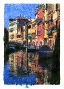 Boats In Water Mixed Media Framed Prints - Boats Reflections in Venice Italy  Framed Print by Zachary Balge