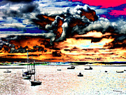 Sailing Digital Digital Art Framed Prints - Boats  Framed Print by Tom Conway