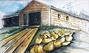 Shack Drawings Prints - Boatshed - Pacific Creek Print by Therese Alcorn