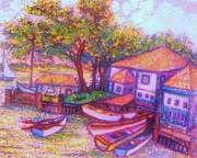 Boats On Water Mixed Media Framed Prints - Boatyard Framed Print by Gunter  Hortz
