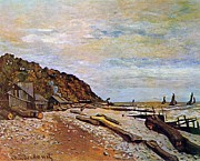 Beach Hut Paintings - Boatyard near Honfleur by Claude Monet