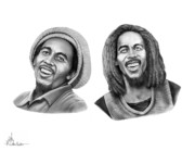 (murphy Elliott) Drawings - Bob and Bob Marley by Murphy Elliott