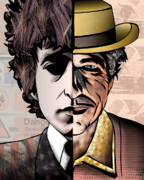 Political Illustration Framed Prints - Bob Dylan - Man vs. Myth Framed Print by Sam Kirk