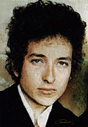 Rock Star Portraits Digital Art - Bob Dylan by John Travisano