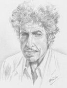 Acoustic Guitar Drawings - Bob Dylan by Julio Huilo Sotomarino