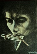 Songwriter Painting Originals - Bob Dylan by Lena Day