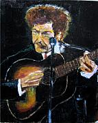 Bob Dylan Painting Originals - Bob Dylan Plays Guitar by Udi Peled