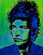Guitar Player Paintings - Bob Dylan by Shirl Theis
