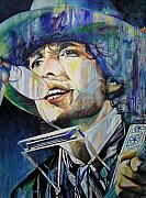 Musician Paintings - Bob Dylan Tangeled up in blue by Joshua Morton