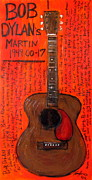 Acoustic Guitar Painting Originals - Bob Dylans First Acoustic by Karl Haglund