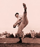 Fast Ball Photo Prints - Bob Feller Print by Reproduction