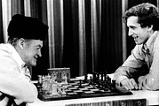 Fischer Prints - Bob Hope, Bobby Fischer Playing Chess Print by Everett