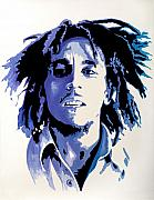Reggae Music Framed Prints - Bob Marley - Blue Framed Print by Jocelyn Passeron