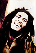 Bob Marley Portrait Prints - Bob Marley - Orange Print by Jocelyn Passeron