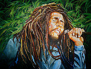 Bob Marley Paintings - Bob Marley - Out Standing in His Field by Merv Scoble