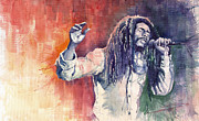 Watercolour Painting Metal Prints - Bob Marley 01 Metal Print by Yuriy  Shevchuk