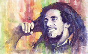Celebrities Painting Framed Prints - Bob Marley 02 Framed Print by Yuriy  Shevchuk