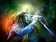 Jamaica Mixed Media Posters - Bob Marley 05 Poster by Miki De Goodaboom