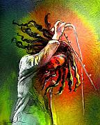 Bob Marley Portrait Posters - Bob Marley 07 Poster by Miki De Goodaboom