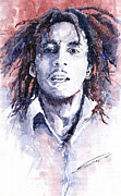 Star Framed Prints - Bob Marley 3 Framed Print by Yuriy  Shevchuk