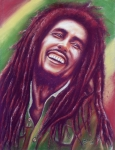 Musicians Pastels Posters - Bob Marley Poster by Anastasis  Anastasi