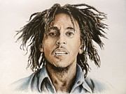 Singer Drawings - Bob Marley by Andrew Read