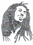 Bob Marley Portrait Prints - Bob Marley Black and White Word Portrait Print by Kato Smock