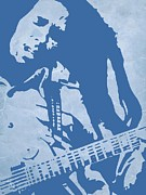 Bob Marley Portrait Posters - Bob Marley Blue Poster by Irina  March