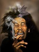 Super Star Painting Prints - Bob Marley-Burning Lights 3 Print by Reggie Duffie