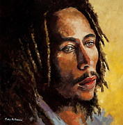 Rastafarian Paintings - Bob Marley by Chris Mc Morrow