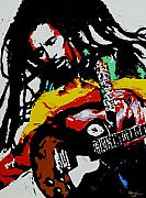 Musical Mixed Media Prints - Bob Marley Print by Eddie Lim