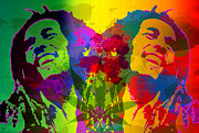Layered Digital Art Posters - Bob Marley Poster by Gary Grayson