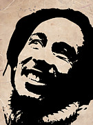 Singer Painting Metal Prints - Bob Marley Grey and Black Metal Print by Irina  March