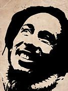 Bob Marley Grey And Black Print by Irina  March