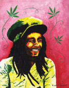 Jamaican Music Paintings - Bob Marley by Kristi L Randall