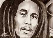 Photorealism Mixed Media Prints - Bob Marley Print by Michael Mestas