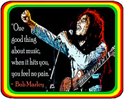 Bob Marley Music No Pain Print by Stanley Slaughter Jr