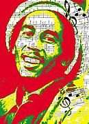 Music Notes Posters - Bob Marley Musical Legend Poster by Brad Scott